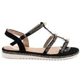 GUAPISSIMA black Sandals With Pearls