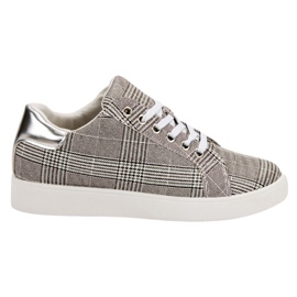 Evento grey Checkered Sports Shoes