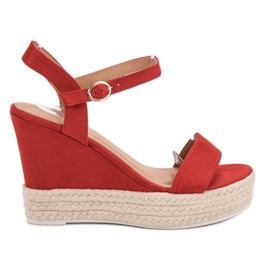 Ideal Shoes red Stylish Sandals on Wedge