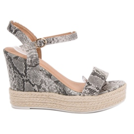 Ideal Shoes grey Stylish Sandals on Wedge