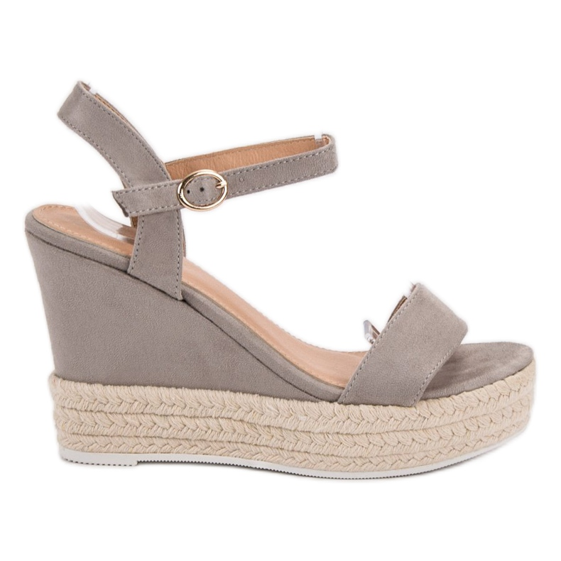 Ideal Shoes Stylish Sandals on Wedge grey
