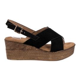 Primavera Black Wedge Sandals