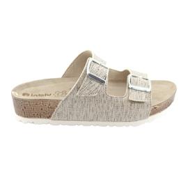 Women's beige slippers Inblu NM013 with silver flecks