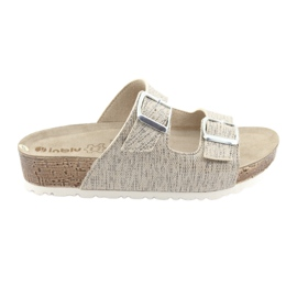 Women's beige slippers Inblu NM013 with silver flecks