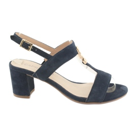 Sandals on the post Caprice 28303 navy blue