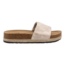 Kylie brown Shiny Beige Slippers
