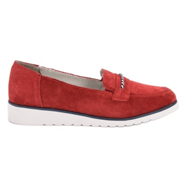 Filippo red Leather moccasins