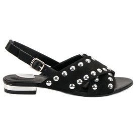 Kylie Black sandals fastened with a buckle