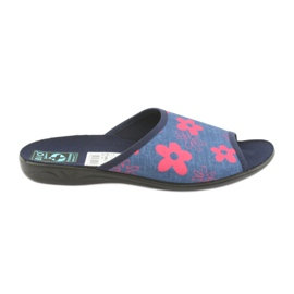 Women's slippers in flowers Adanex navy blue