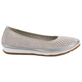 Filippo grey Leather ballerinas