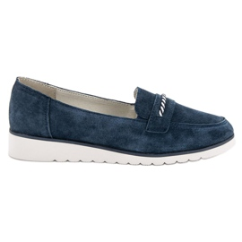 Filippo blue Leather moccasins
