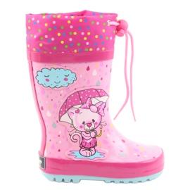 American Club American children's rain boots kitten blue pink