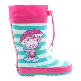 American Club American children's rain boots Kitten pink green