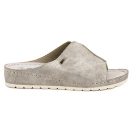 Goodin grey Silver Slippers