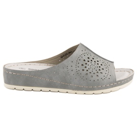 Goodin openwork gray women's slippers grey