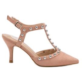 Bestelle pink Stilettos with an exposed heel