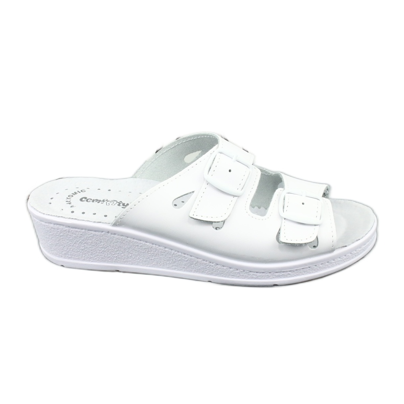 White Women's slippers Comfooty Mia wedge