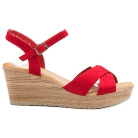 Best Shoes red Light Suede Sandals