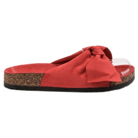 Diamantique red Slippers With Bow