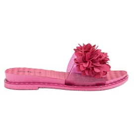 Anesia Paris pink Rubber Slippers With Flowers