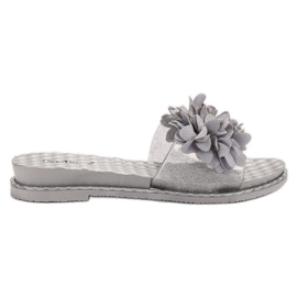 Anesia Paris grey Rubber Slippers With Flowers