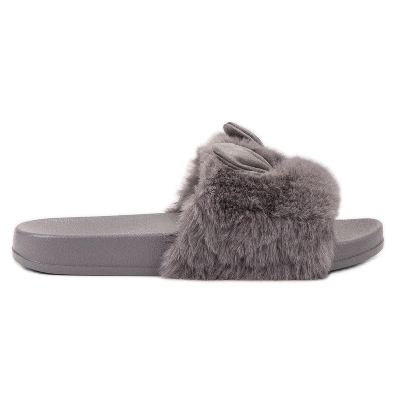 Vinceza Gray Slippers With Fur grey
