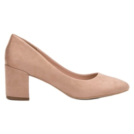 Small Swan brown Suede Pumps