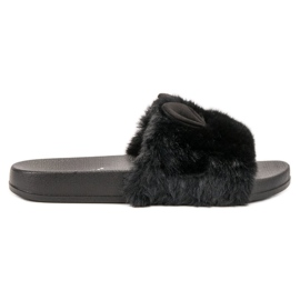 Vinceza Black Slippers With Fur