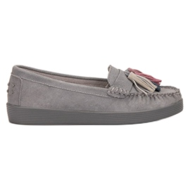 Filippo grey Leather Loafers With Fringes