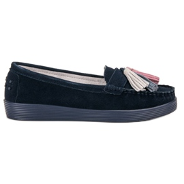 Filippo navy Leather Loafers With Fringes