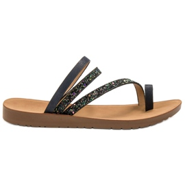 Vinceza black Flip-flops with Brocade