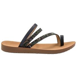 Vinceza Flip-flops with Brocade black