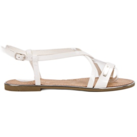 Anesia Paris white Lacquered Flat Sandals