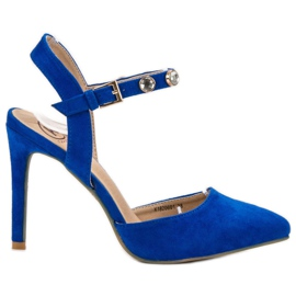 Kylie blue Stilettos with an exposed heel