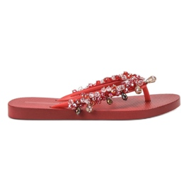 SHELOVET Rubber Flip-flops With Ornaments red