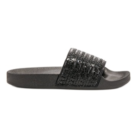Queen Vivi black Slippers With crystals