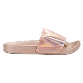 Small Swan pink Fashionable Rose Gold Slippers