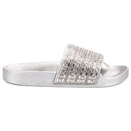 Queen Vivi grey Slippers With crystals
