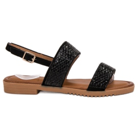 Primavera Black Sandals With Crystals