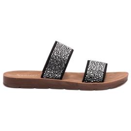Seastar black Slippers With Zircons