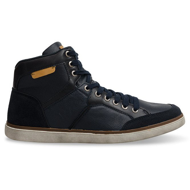 High Sneakers Natural Leather XF117 Navy