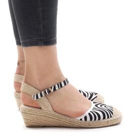 Zebra sandals on wedge LLI-3M88-7 espadrilles