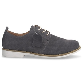 Grey Lace-up Leather Shoes LJ12 Gray