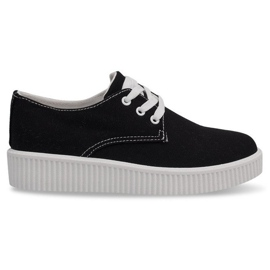 Black lace-up sneakers creepers BK-15