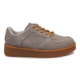 Creepers Boots On Platform HBK1015 Gray grey