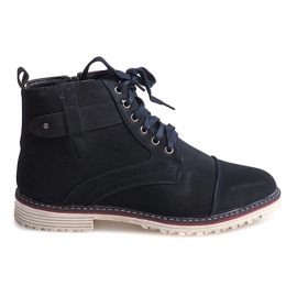 Navy High Warmed Shoes Knotted M589 Pomegranate