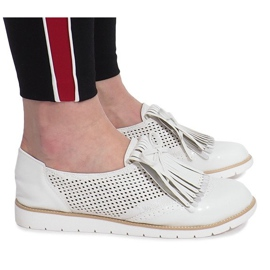 White openwork loafers with Pamole fringes grey