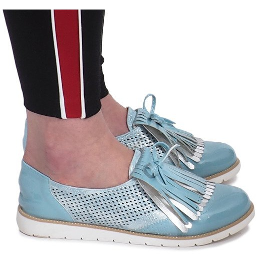 Blue openwork loafers with Pamole fringes grey