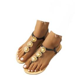 Black flat sandals with pearls Okra