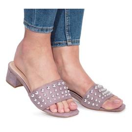 Violet flip-flops with State high heels